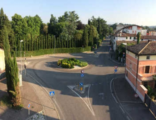 Rotatoria in Montebelluna: Via G.Galilei, Via Roma, Via Sansovino e Via G.Bergamo