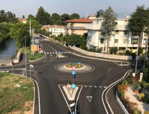 Rotatoria in Montebelluna: Via Ospedale, Via S.Caterina da Siena e Via Beato Enrico